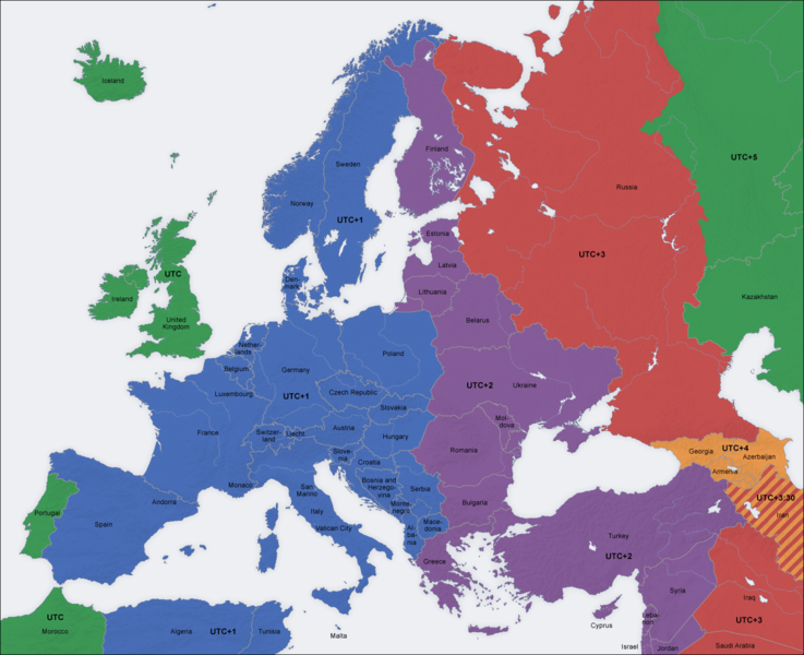 időzóna térkép Időzónák Európában « Pontos idő